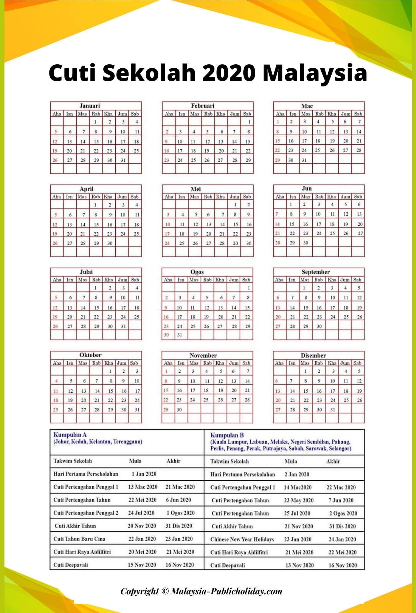 2020 Cuti Sekolah Kalendar