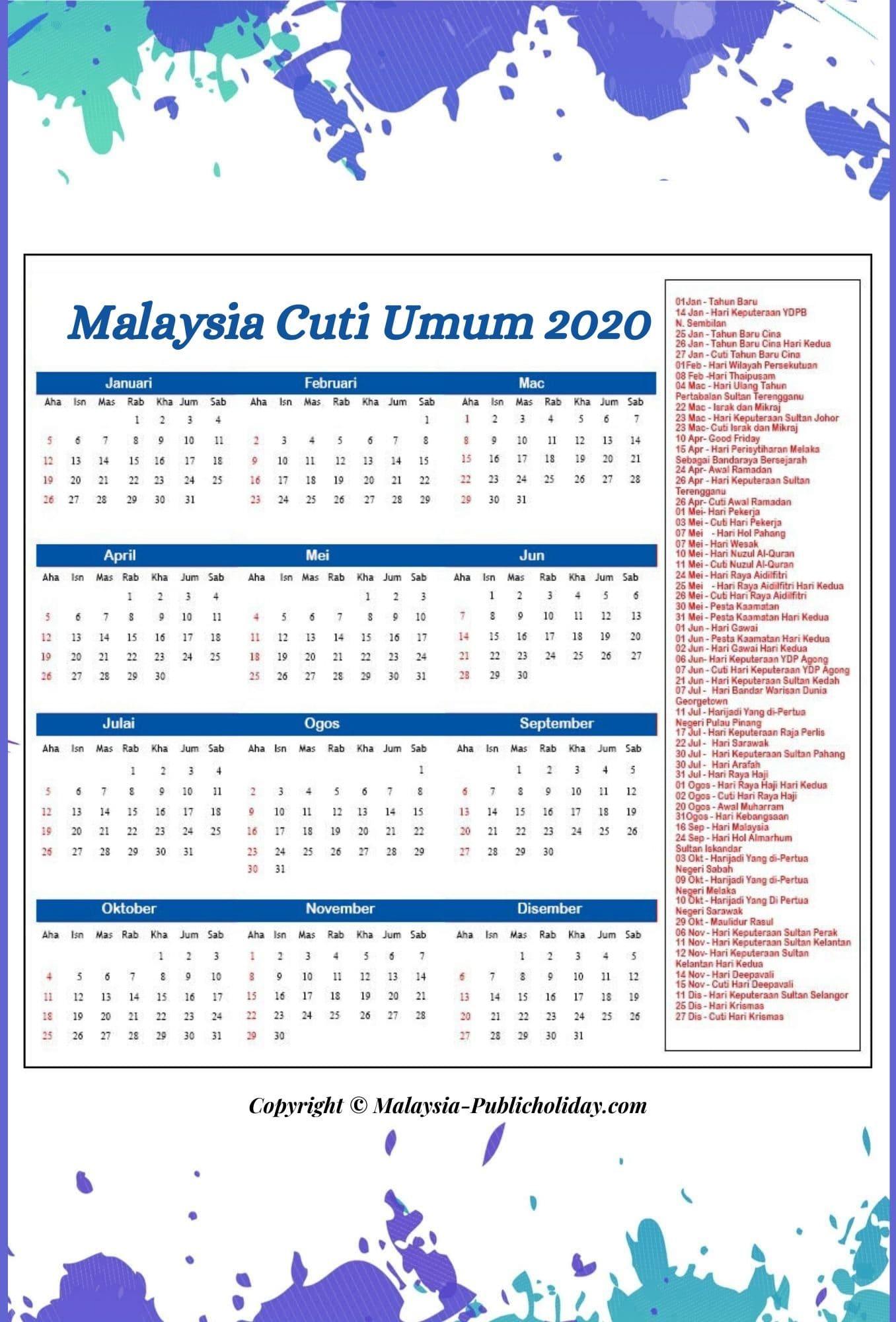 2020 Cuti Umum Malaysia Kalendar