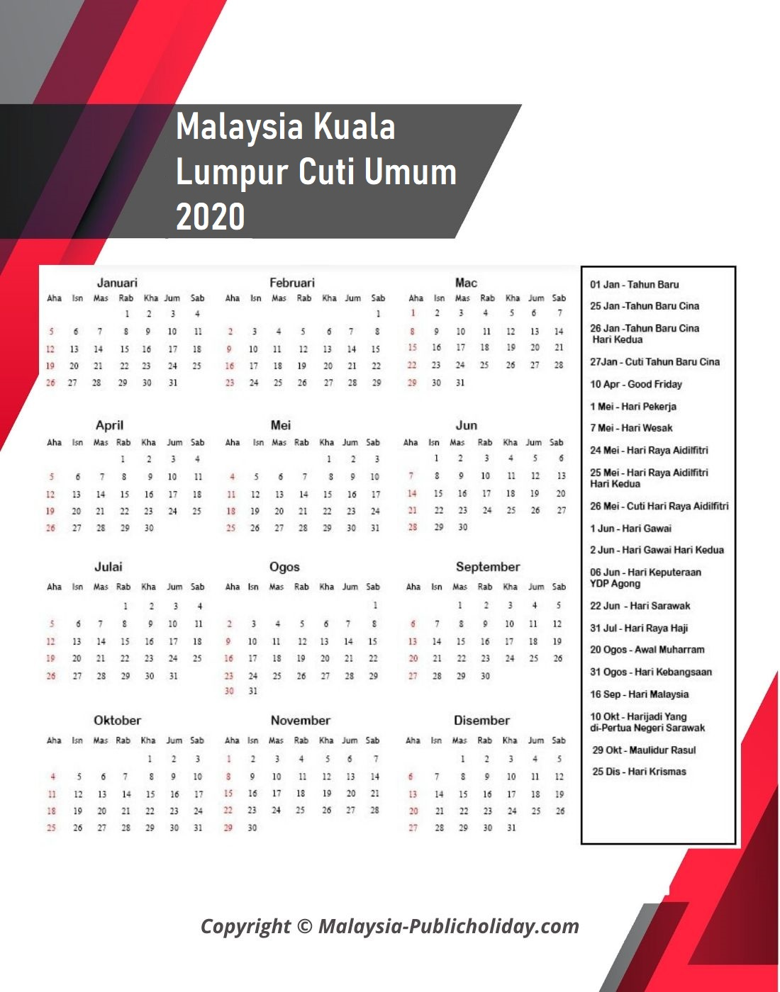 2020 Kalendar Kuala Lumpur