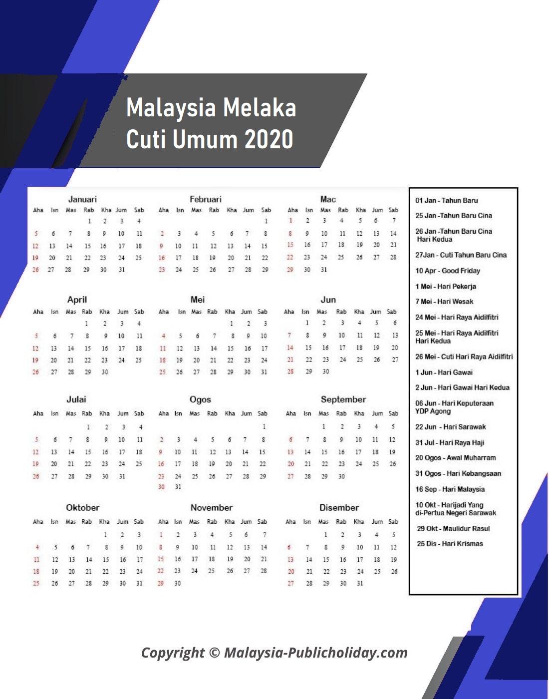 2020 Kalendar Melaka