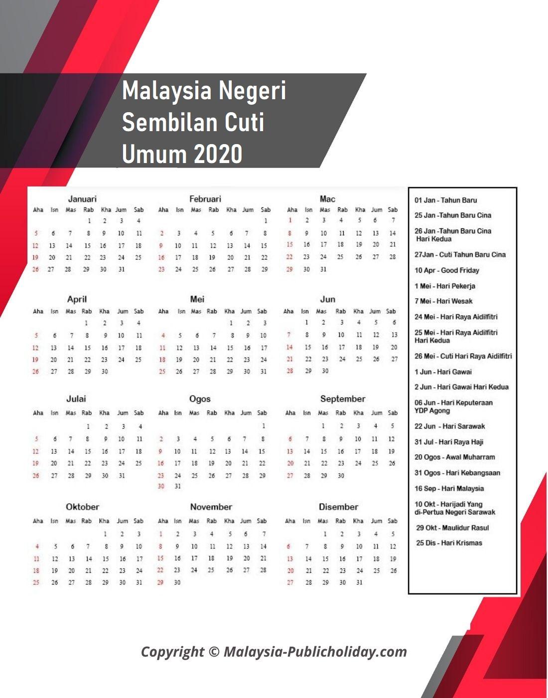 2020 Kalendar Negeri Sembilan
