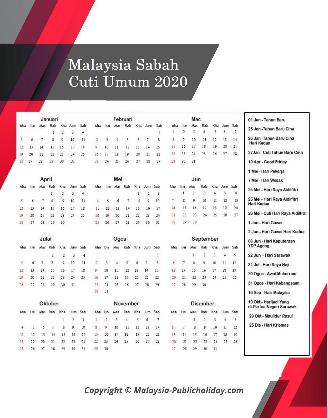 2020 Kalendar Sabah