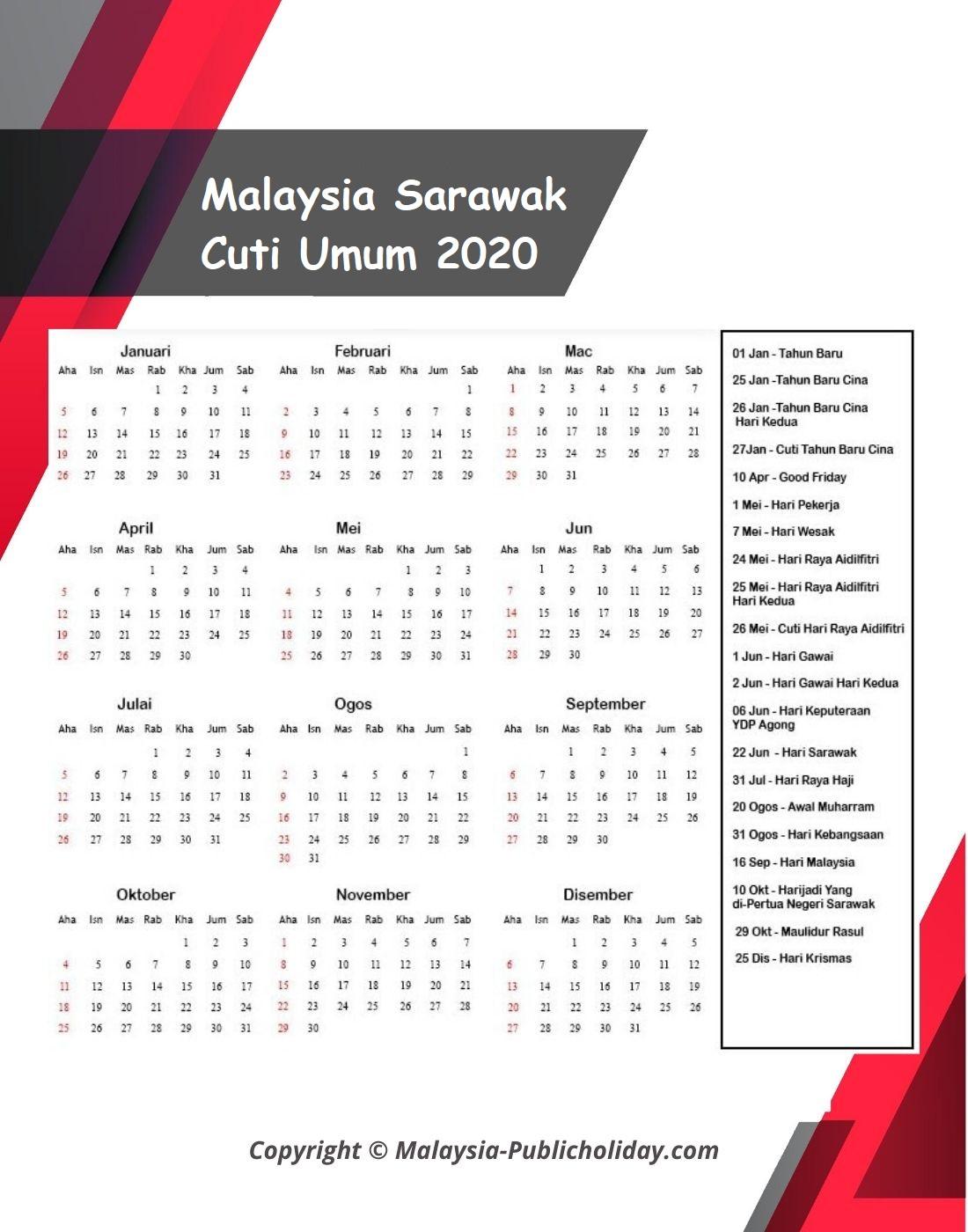 2020 Kalendar Sarawak