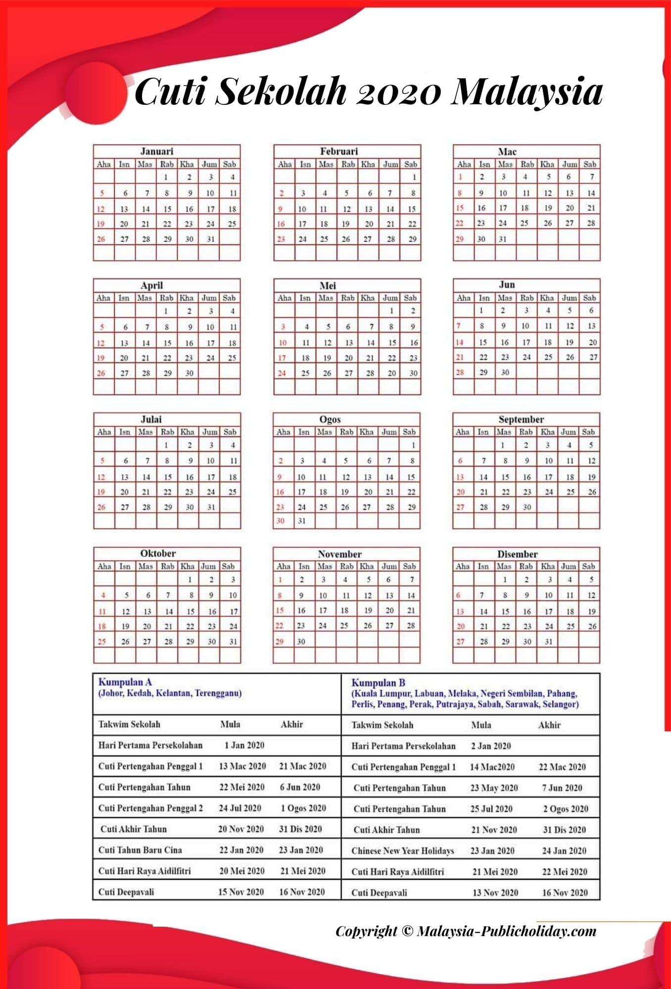 Cuti Sekolah 2020 Kalendar