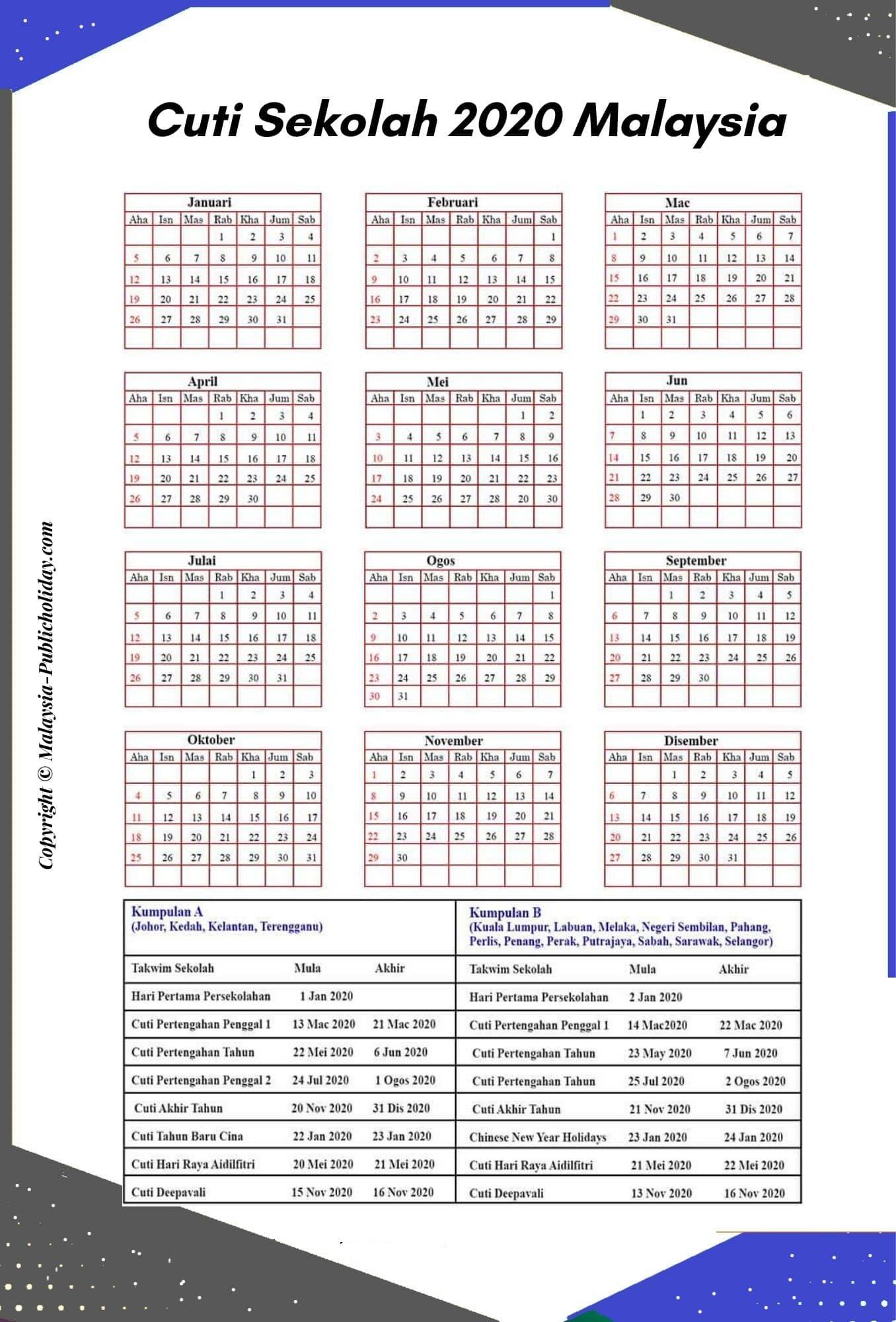 Cuti Sekolah 2020 Kalendars