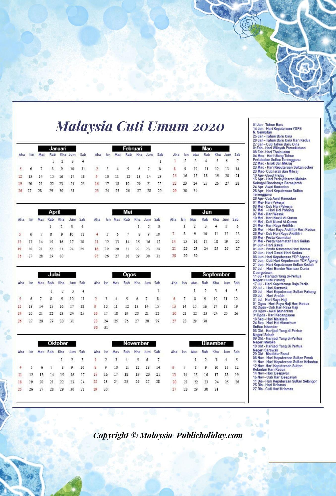 Cuti Umum 2020 Malaysia Kalendar