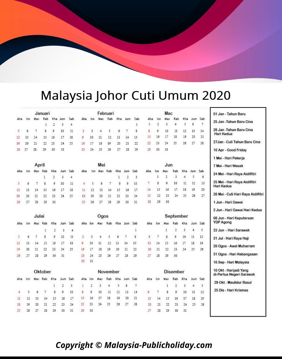 Cuti Umum Johor 2020
