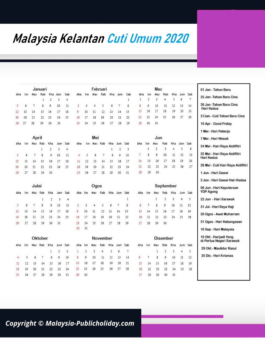 Cuti Umum Kelantan 2020 Malaysia
