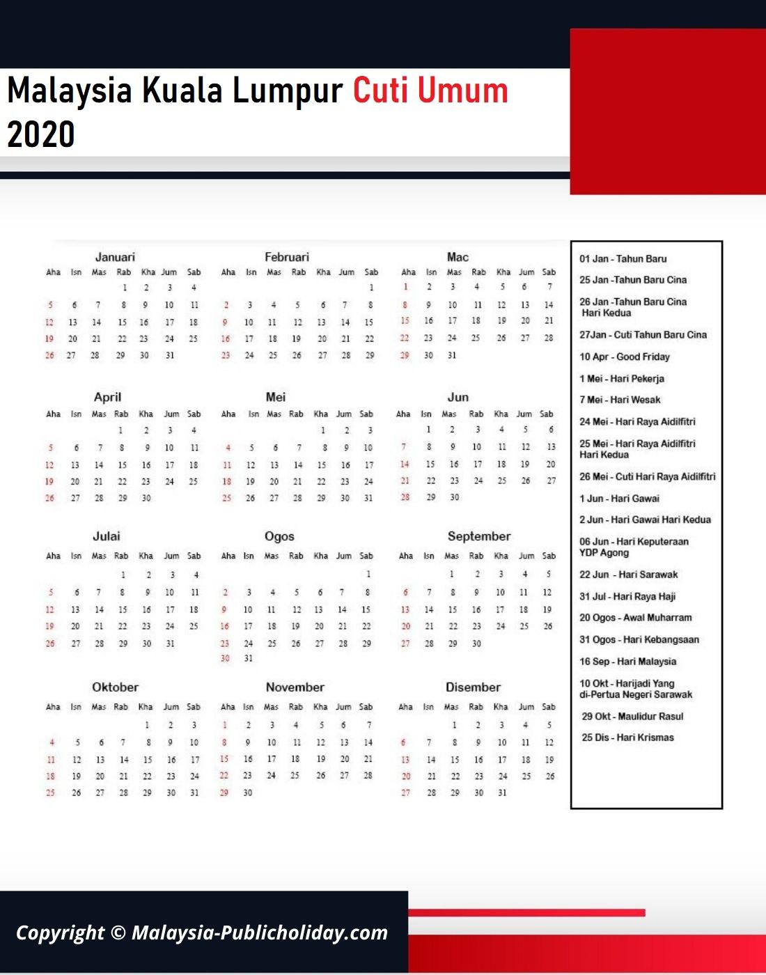 Cuti Umum Kuala Lumpur 2020 Malaysia