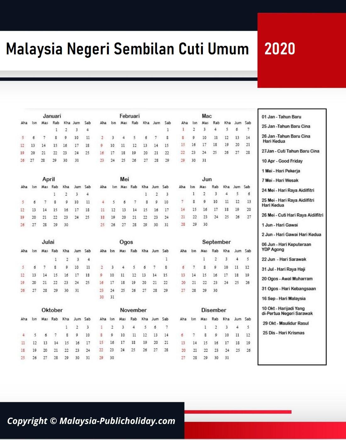 Cuti Umum Negeri Sembilan 2020 Malaysia