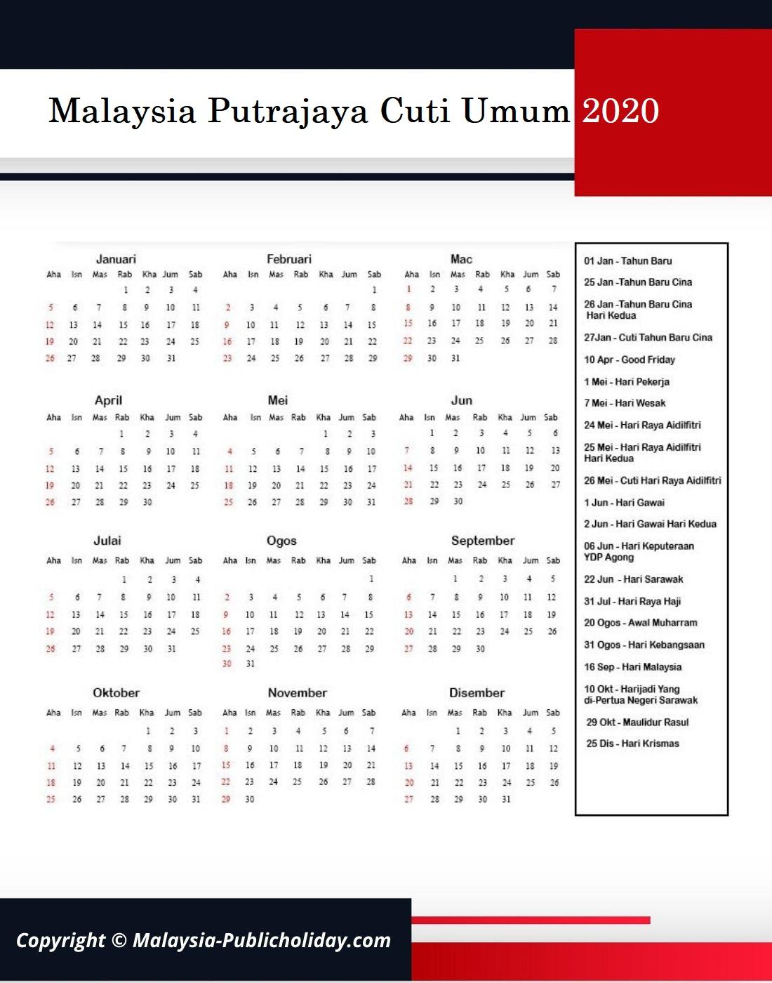 Cuti Umum Putrajaya 2020 Malaysia