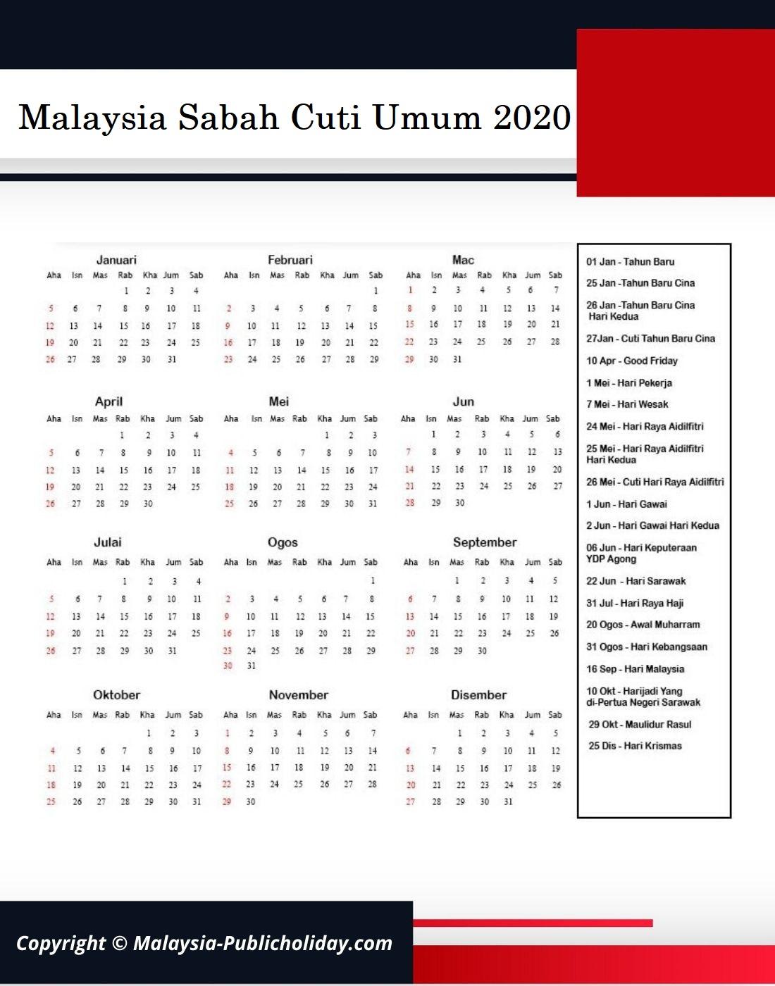 Cuti Umum Sabah 2020 Malaysia