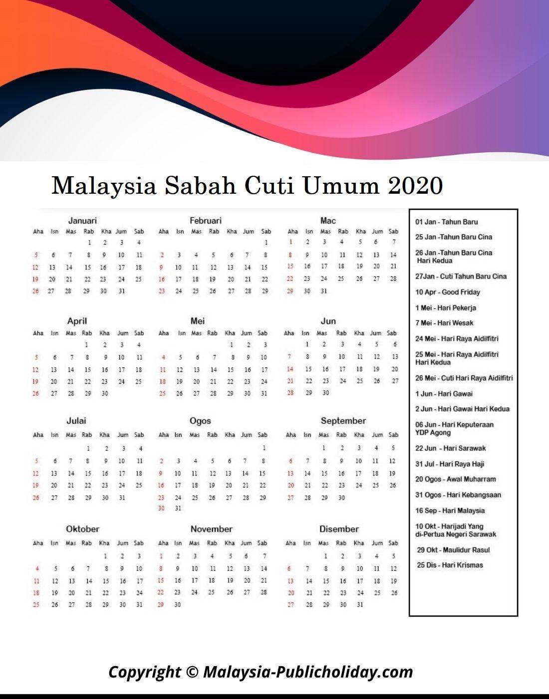 Cuti Umum Sabah 2020