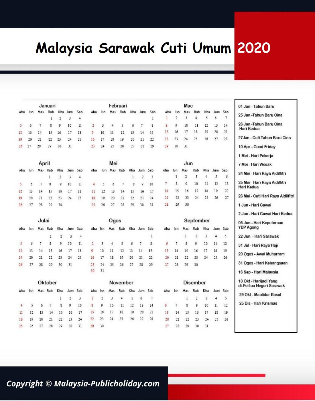Cuti Umum Sarawak 2020 Malaysia