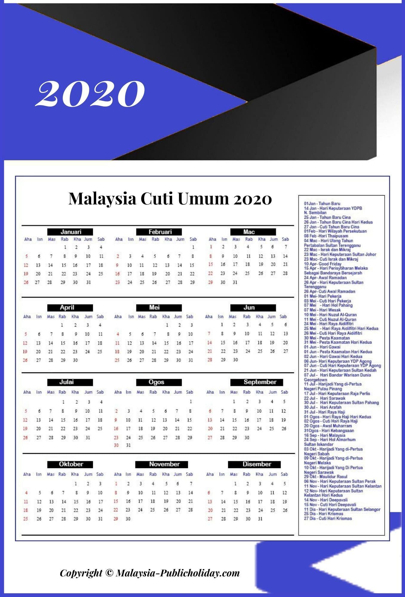 Kalendar Malaysia Cuti Umum 2020