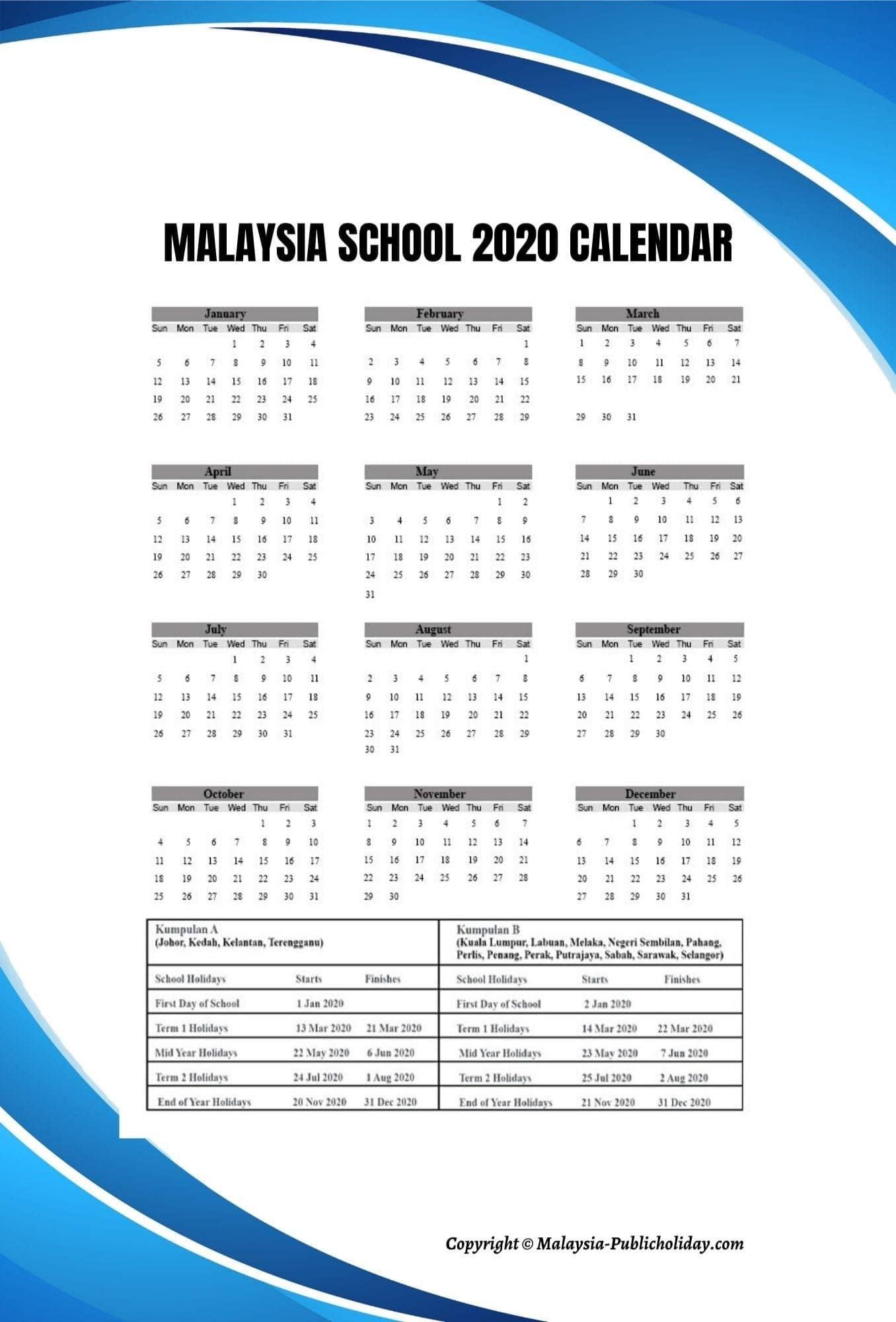 Malaysia 2020 School Calendar