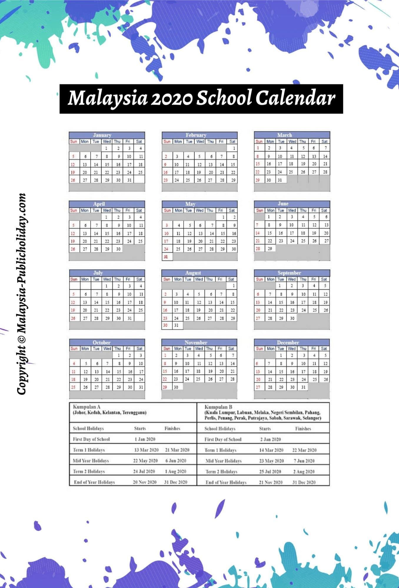 School Holidays 2020 Malaysia