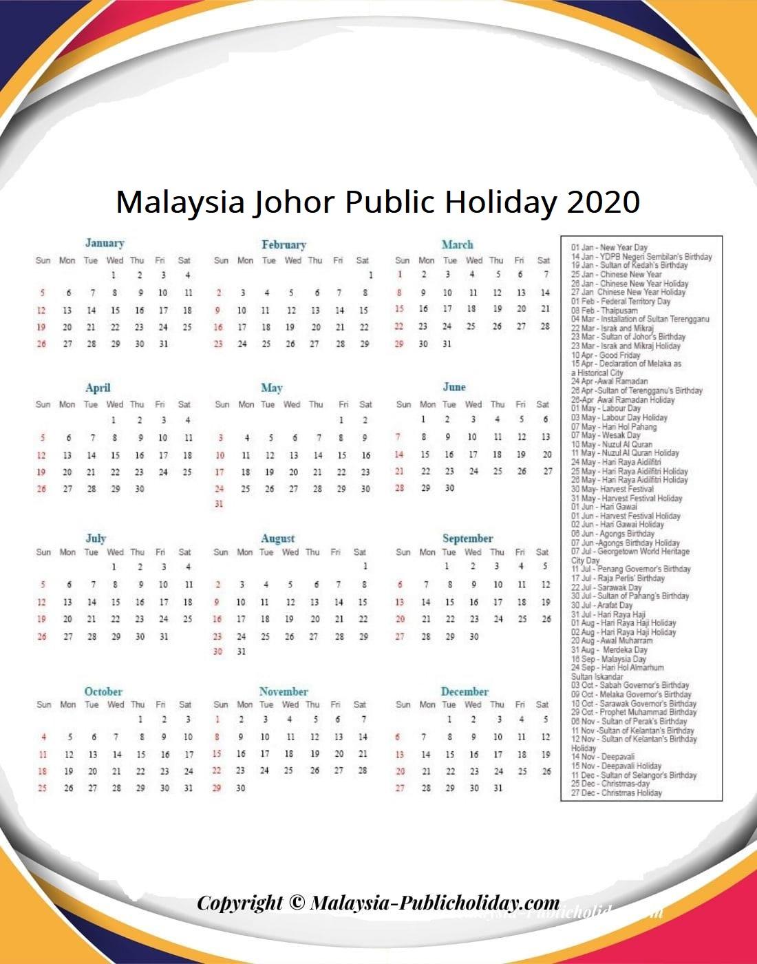 Johor Calendars 2020 Malaysia
