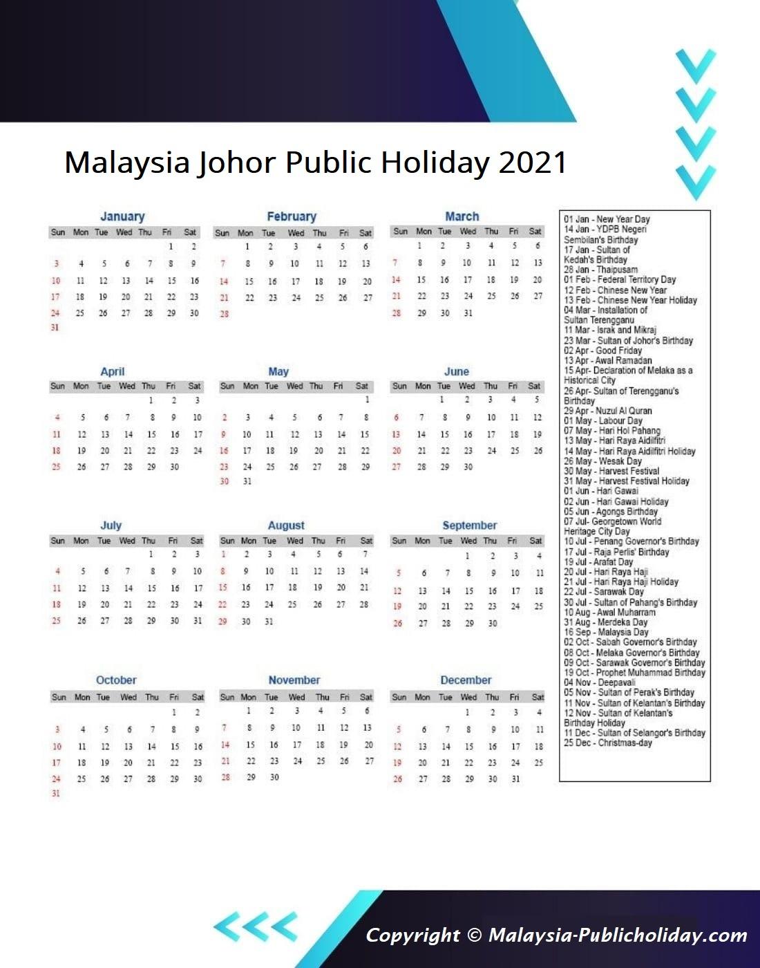 Johor Calendars 2021 Malaysia