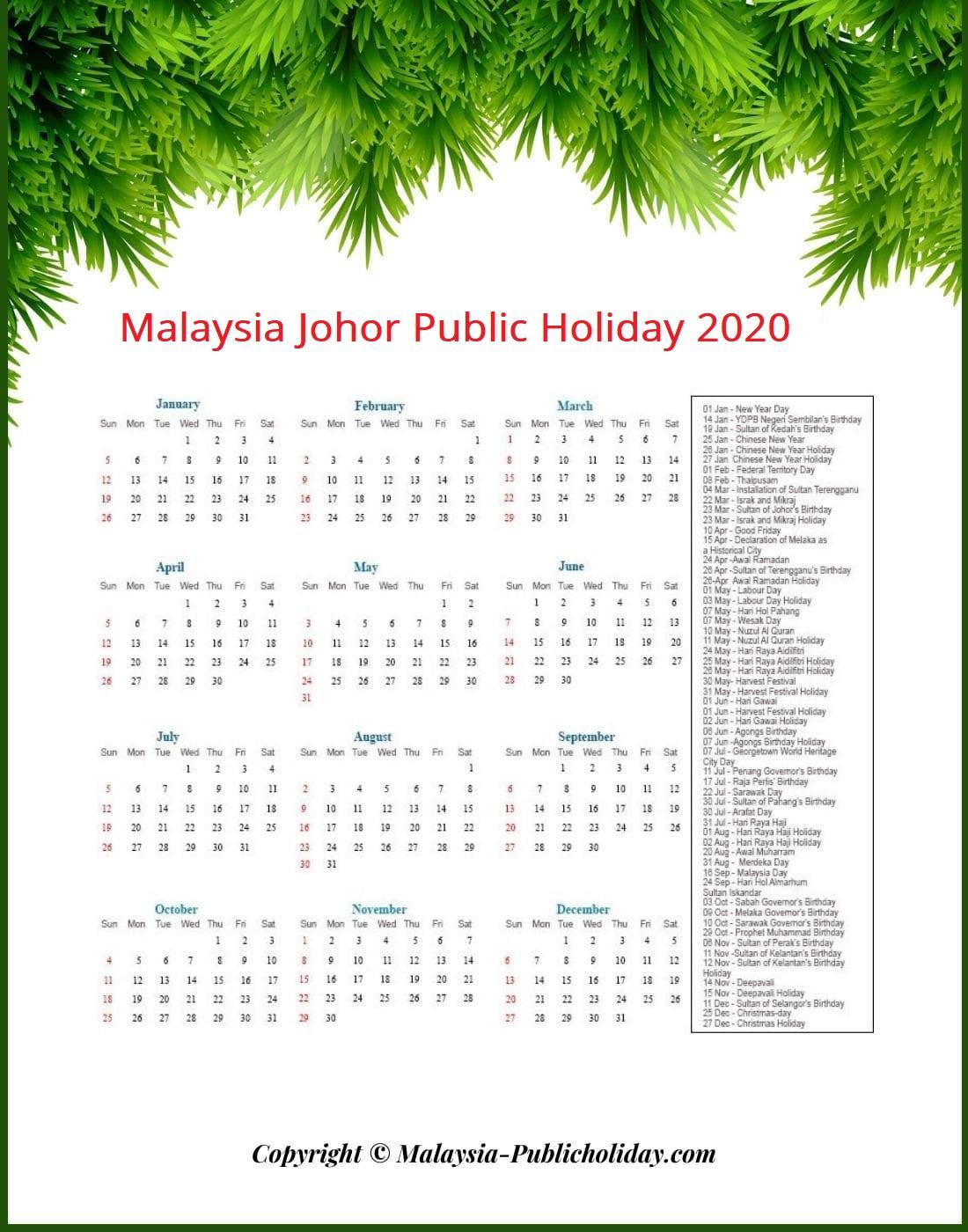 Johor Holiday 2020 Malaysia