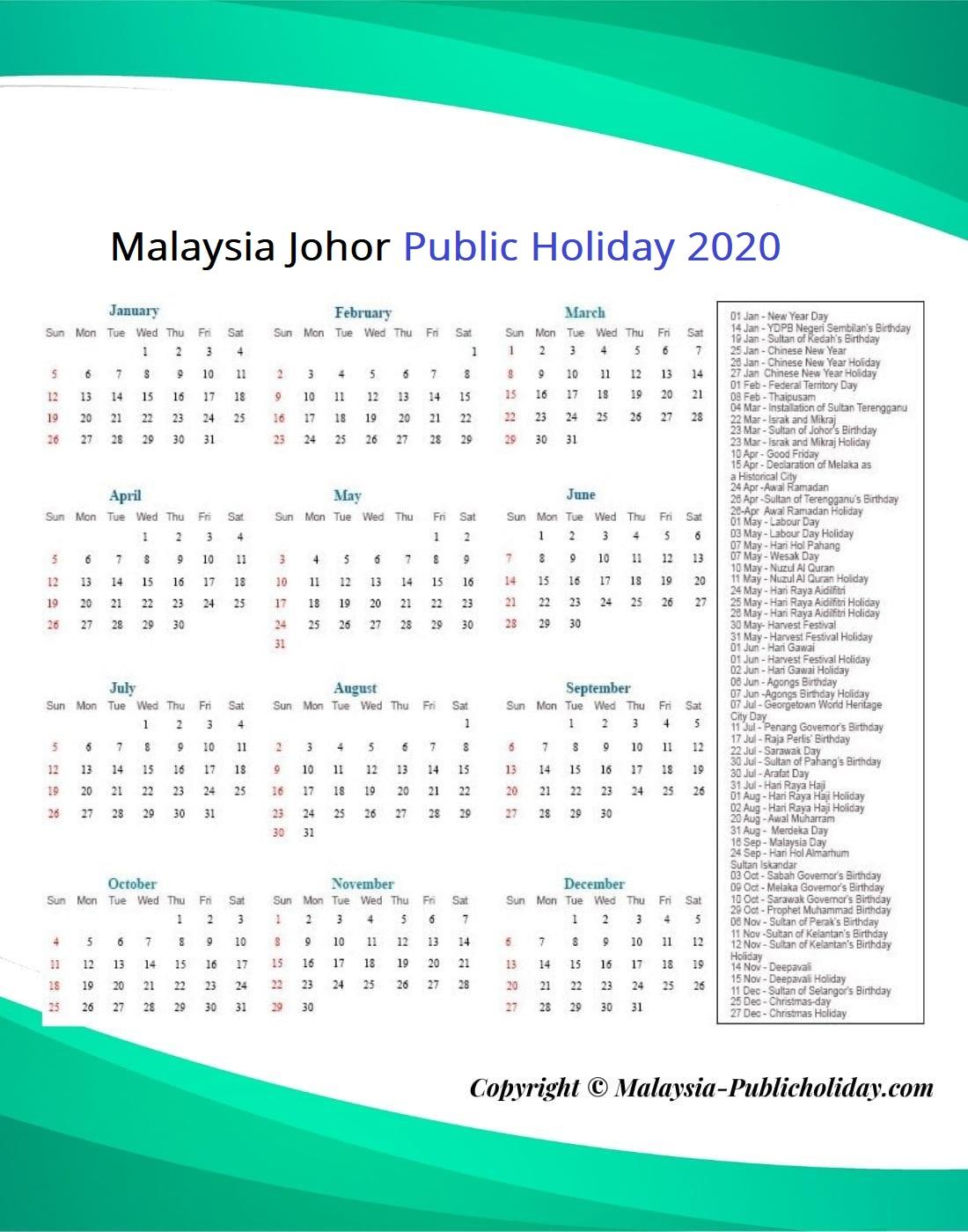 Johor Public Holiday 2020