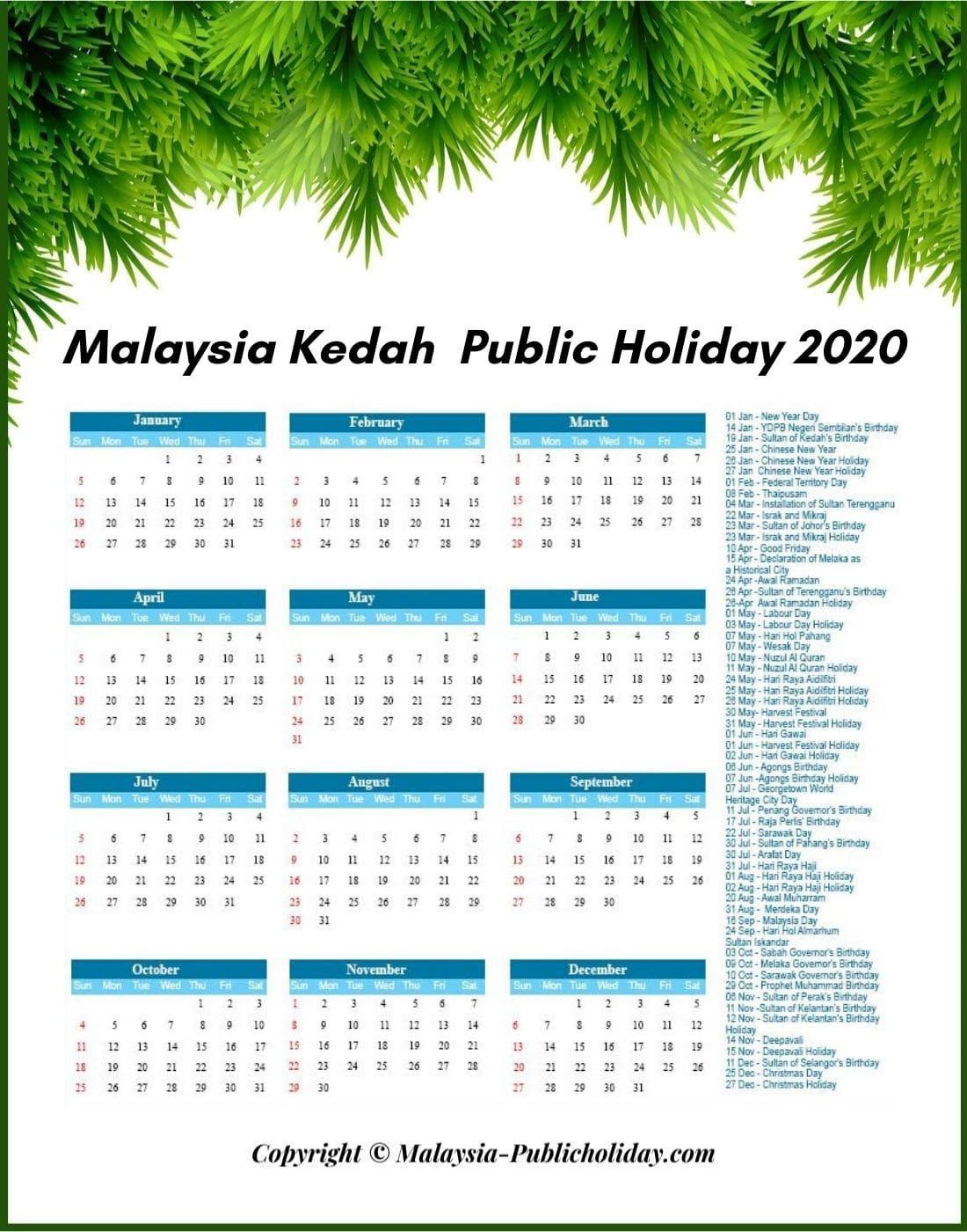 Kedah Calendars 2020 Malaysia