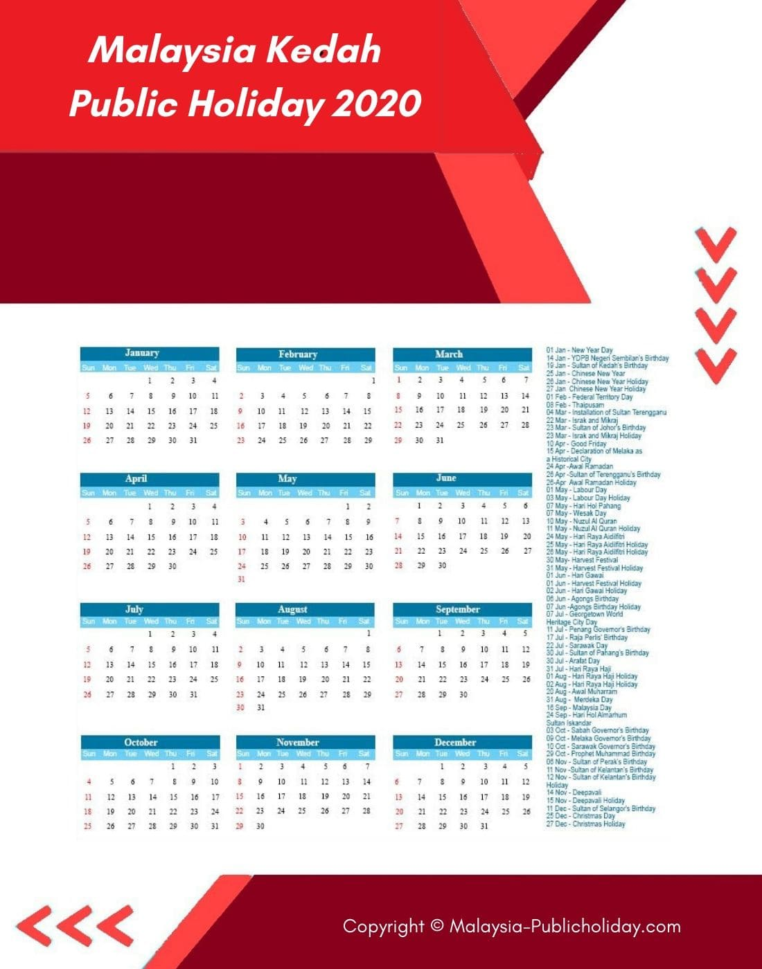 Kedah Calendars with Holidays 2020