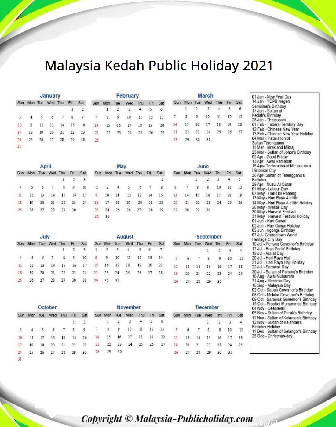 Kedah Calendars with Holidays 2021