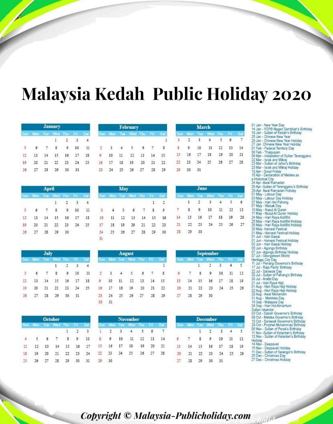 Kedah Holiday 2020 Malaysia