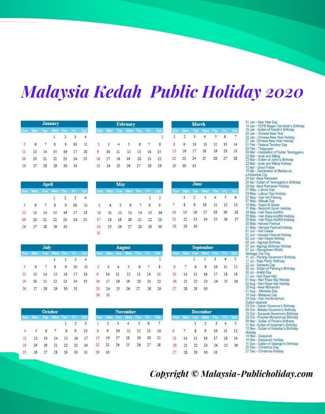 Kedah Public Holiday 2020
