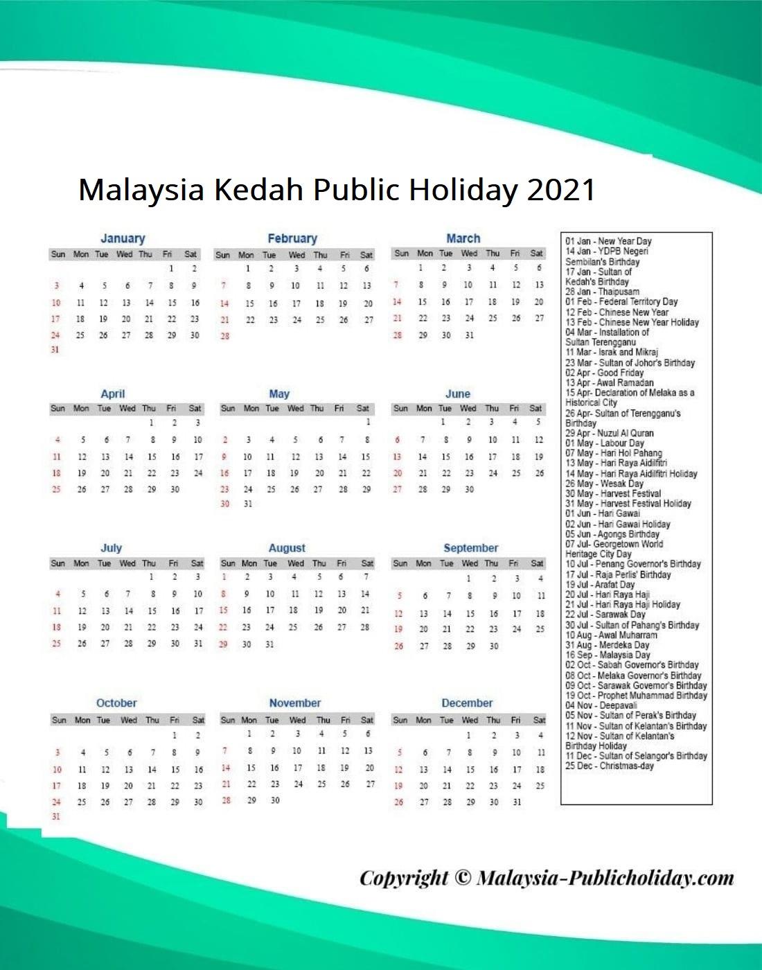 Kedah Public Holiday 2021