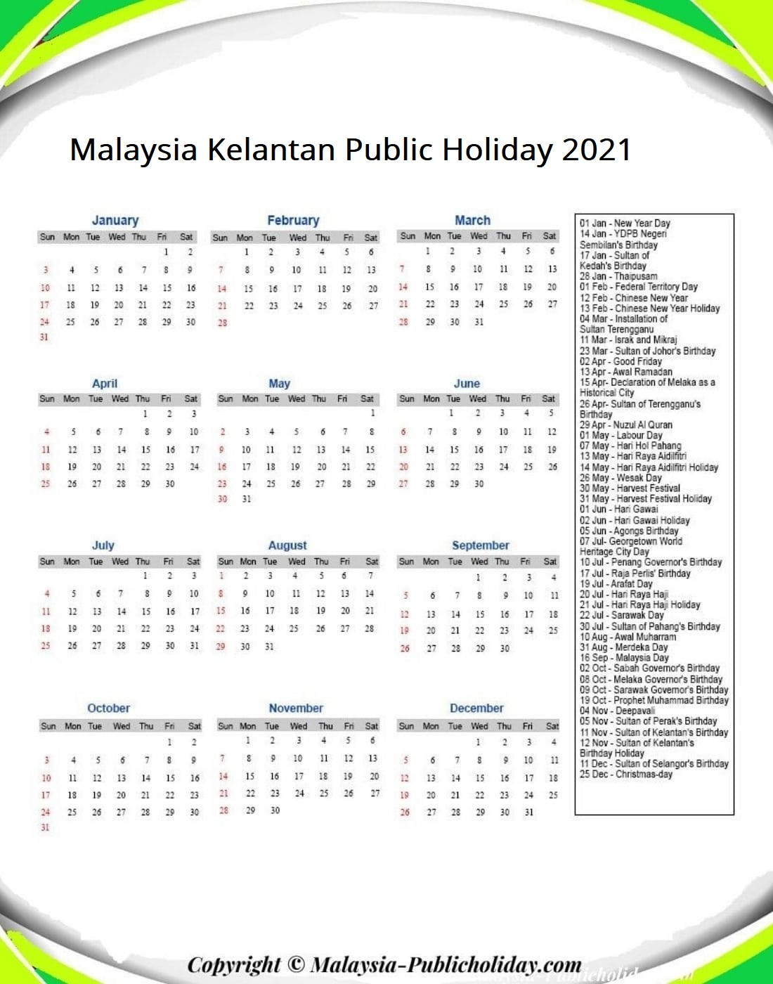 Kelantan Calendars with Holidays 2021