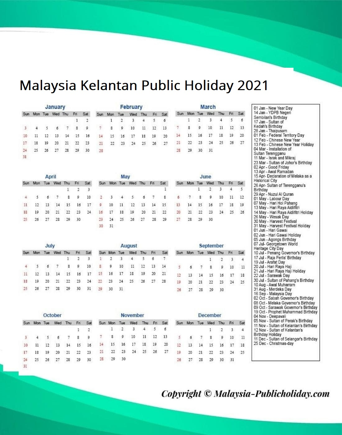 Kelantan Public Holiday 2021