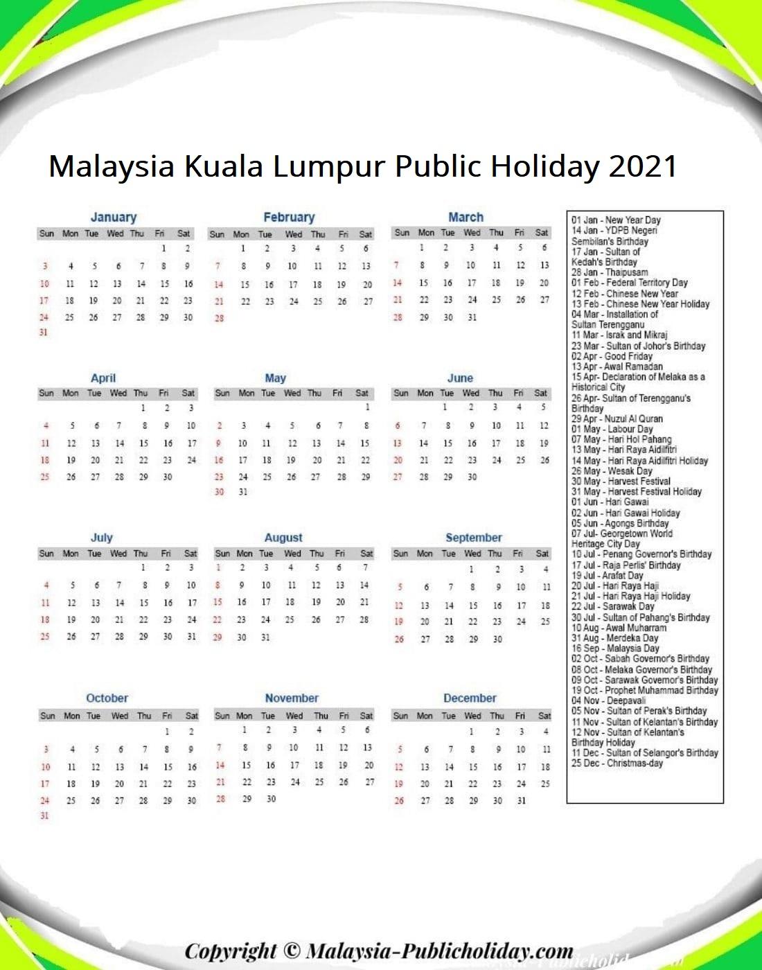 Kuala Lumpur Calendars with Holidays 2021