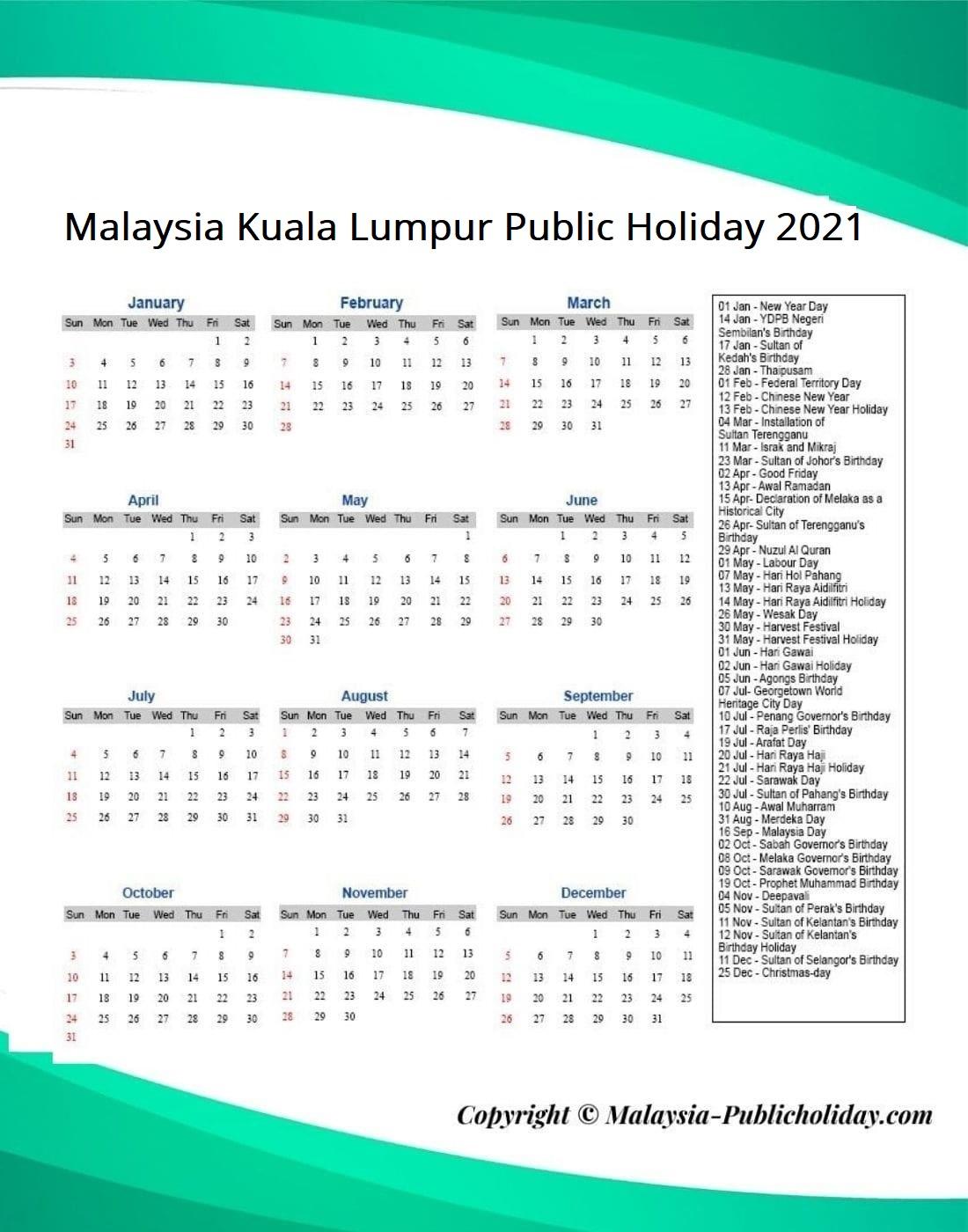 Kuala Lumpur Public Holiday 2021