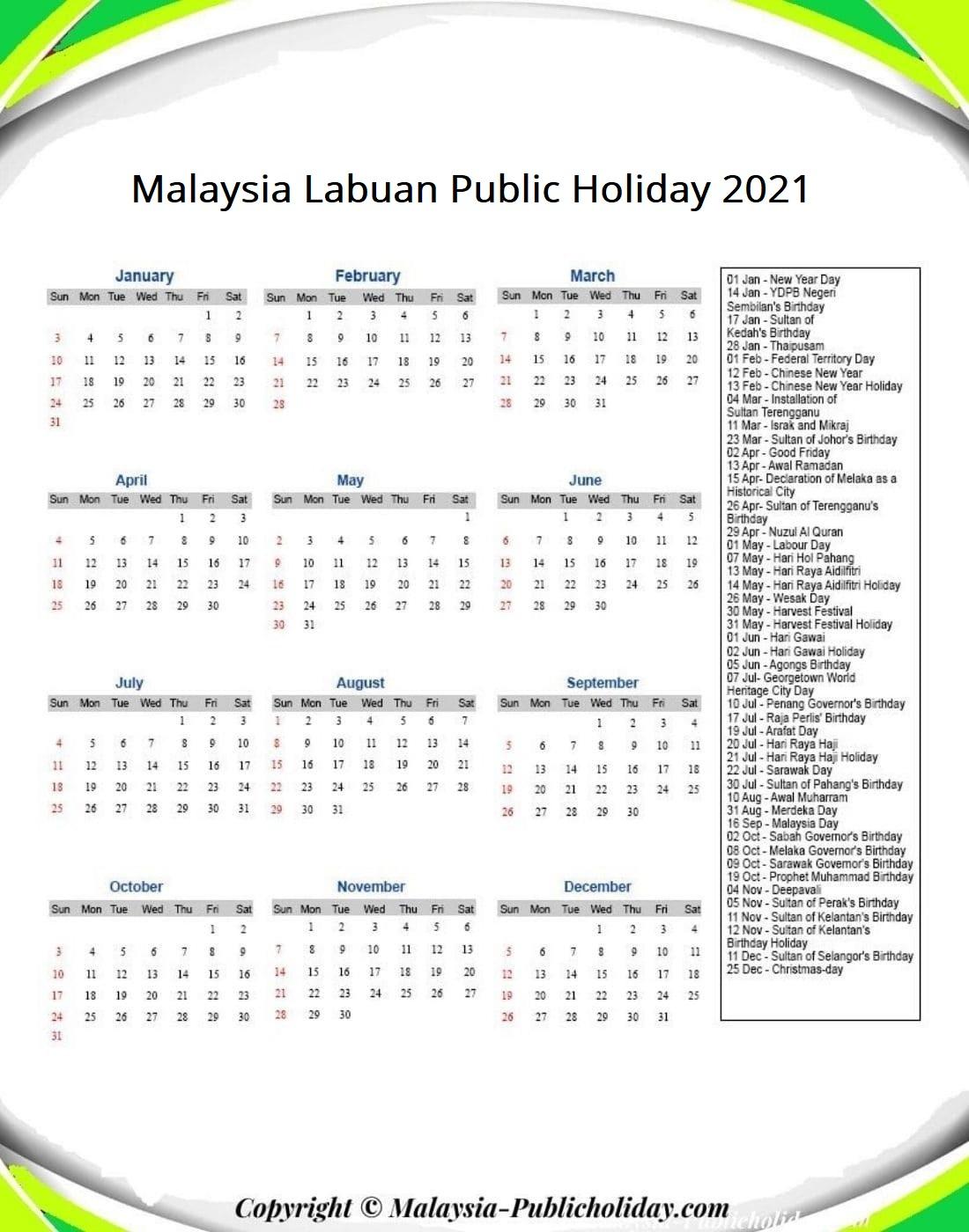 Labuan Calendars with Holidays 2021