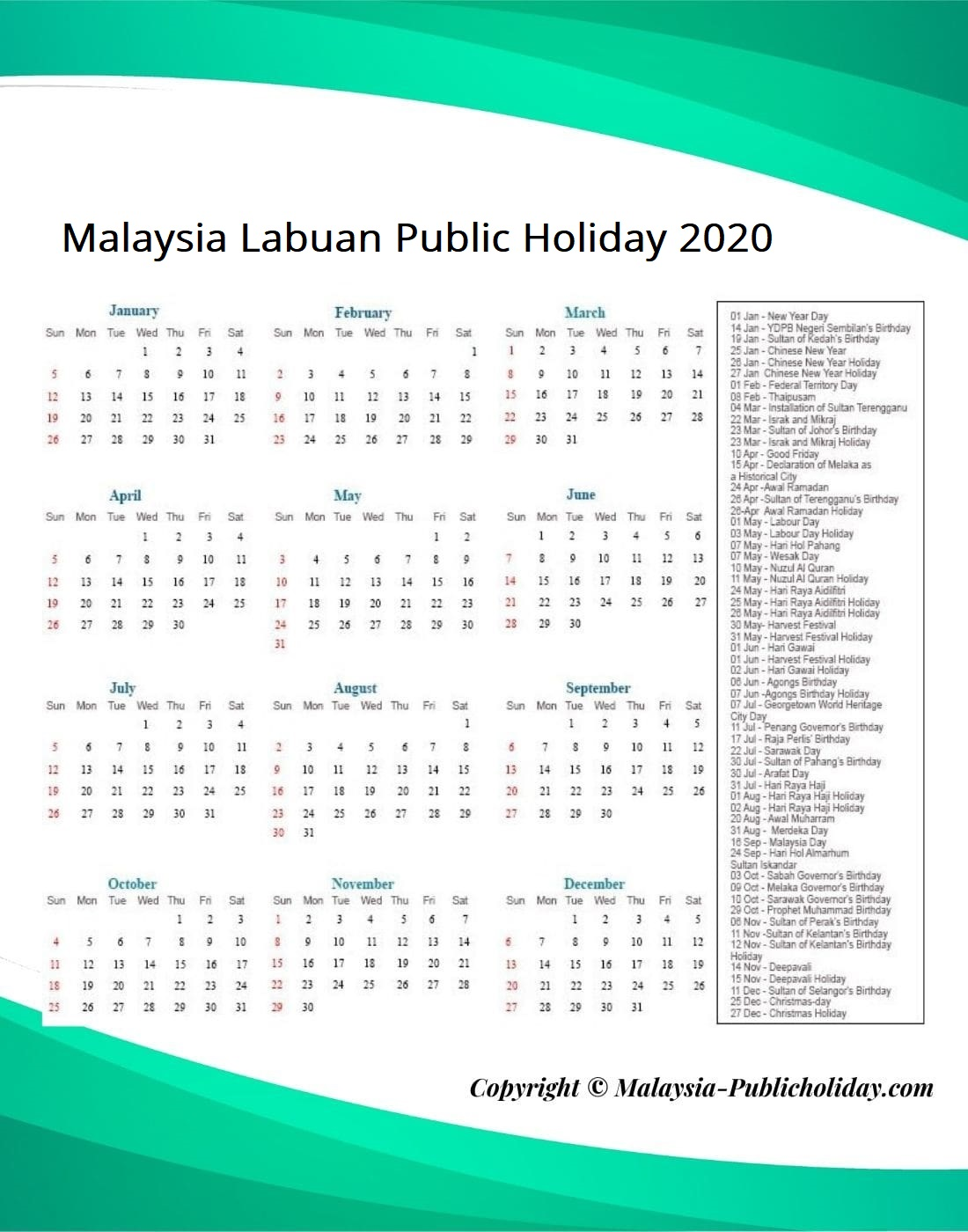 Labuan Public Holiday 2020