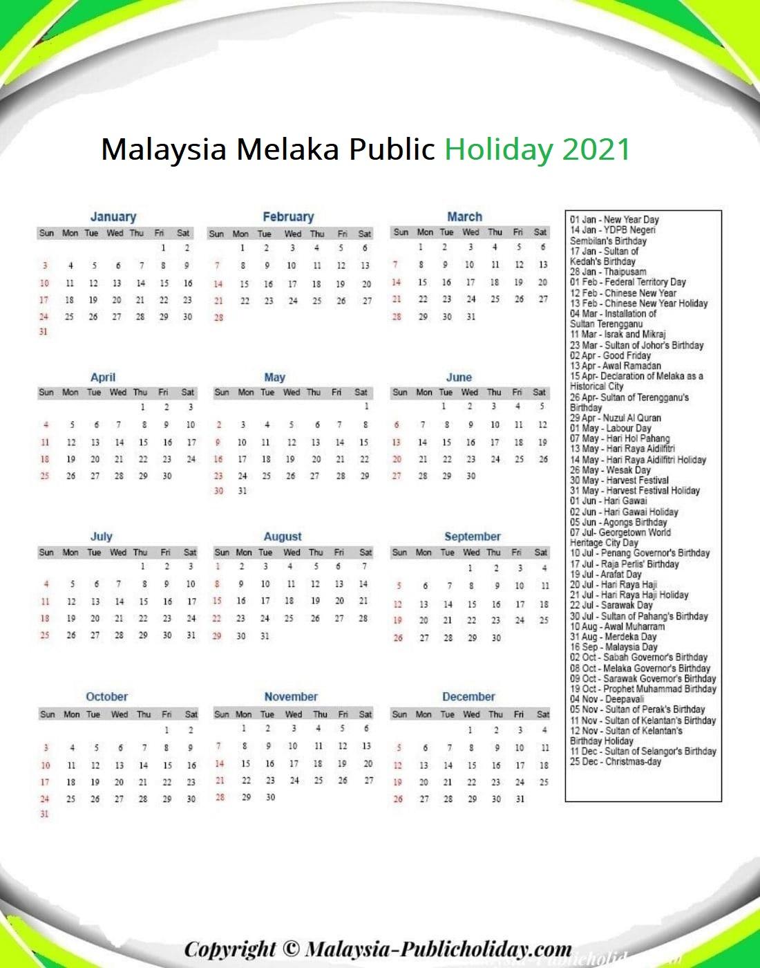 Melaka Calendars with Holidays 2021