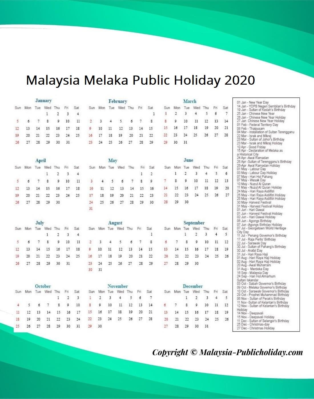 Melaka Public Holiday 2020