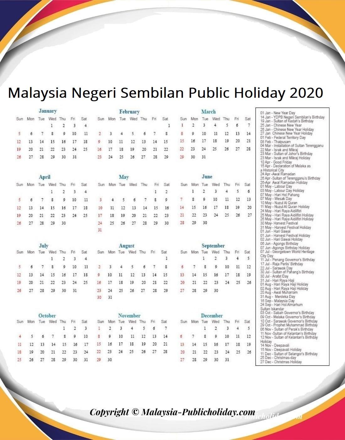 Negeri Sembilan Calendars 2020 Malaysia