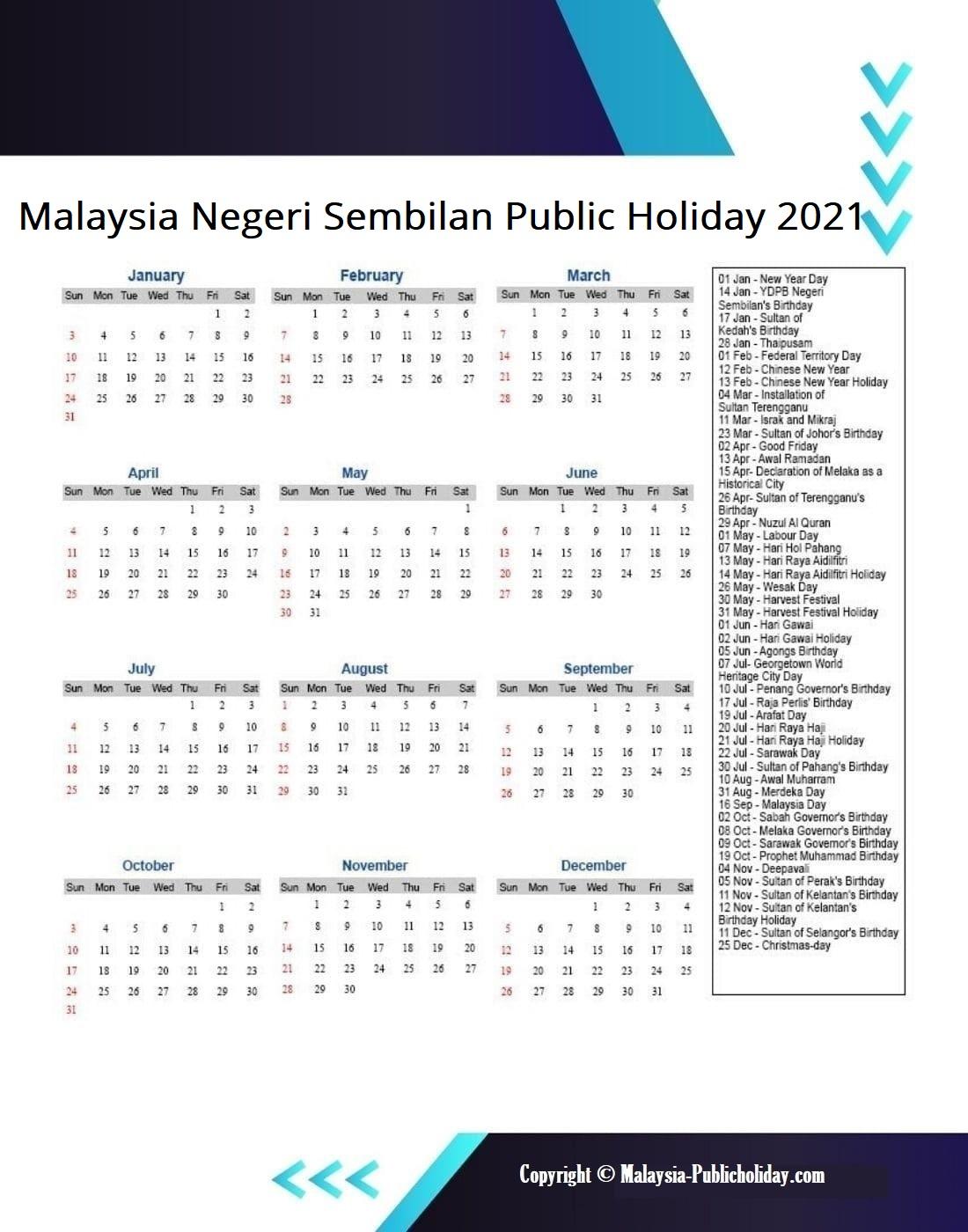 Negeri Sembilan Calendars 2021 Malaysia