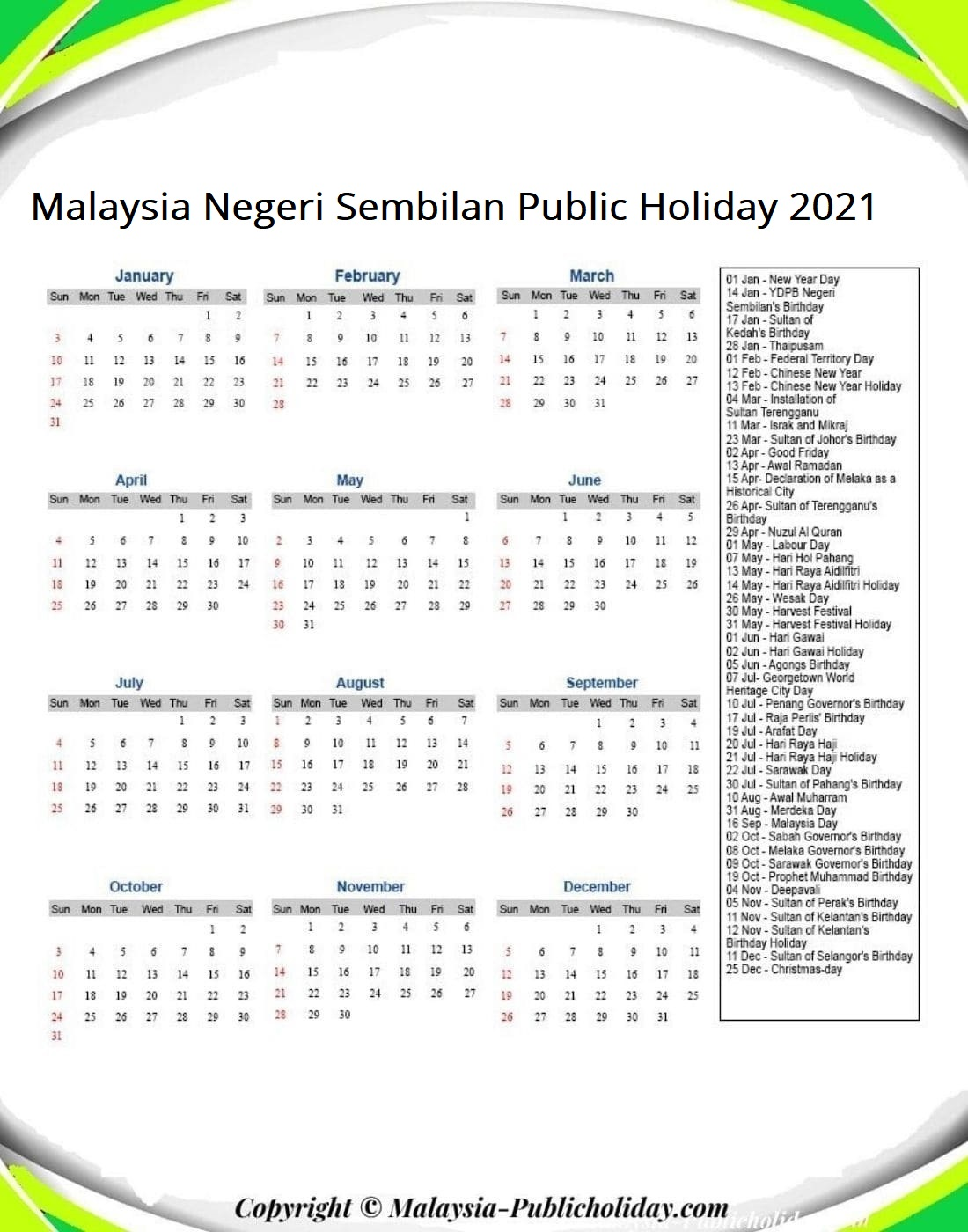 Negeri Sembilan Calendars with Holidays 2021