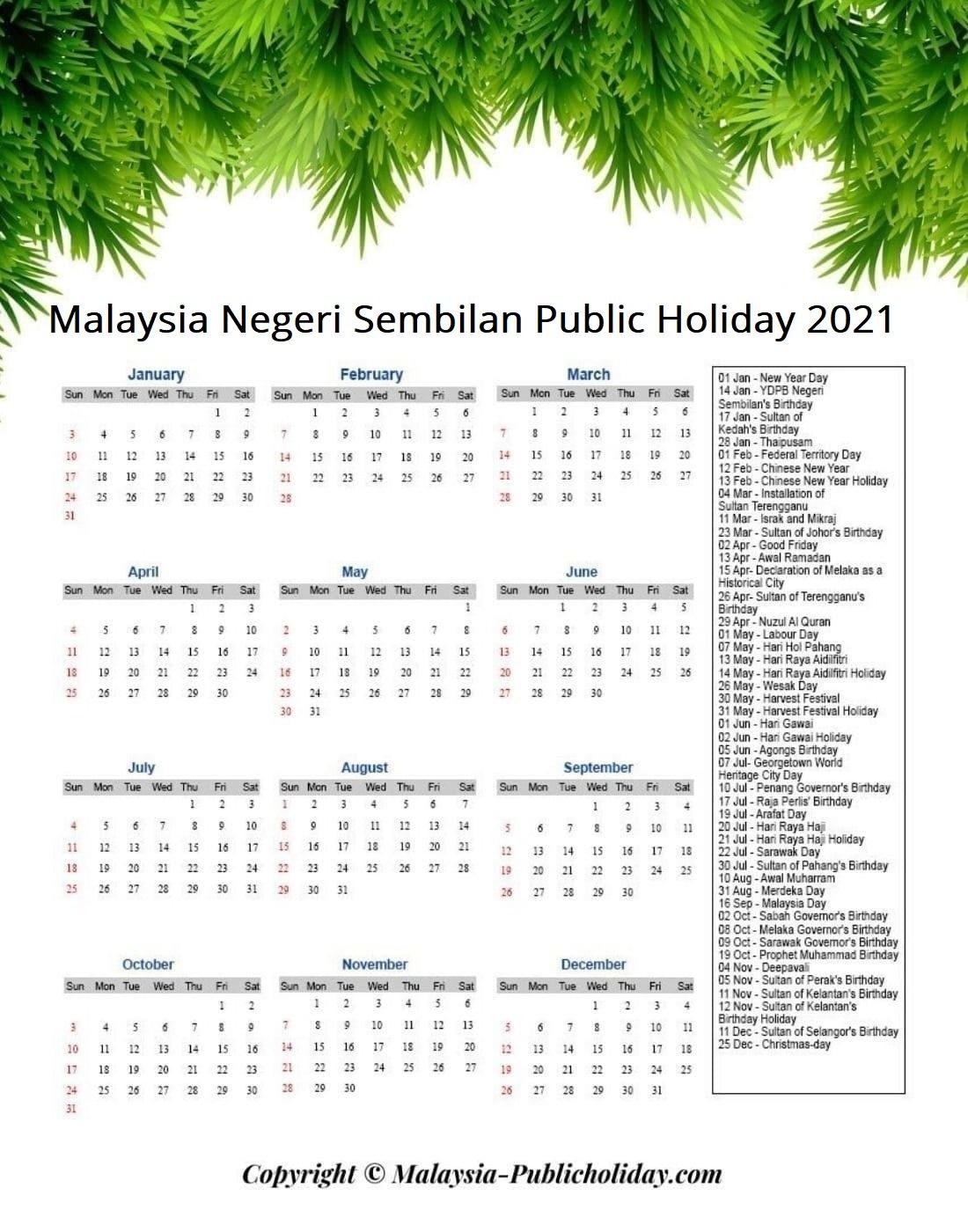 Negeri Sembilan Holiday 2021 Malaysia