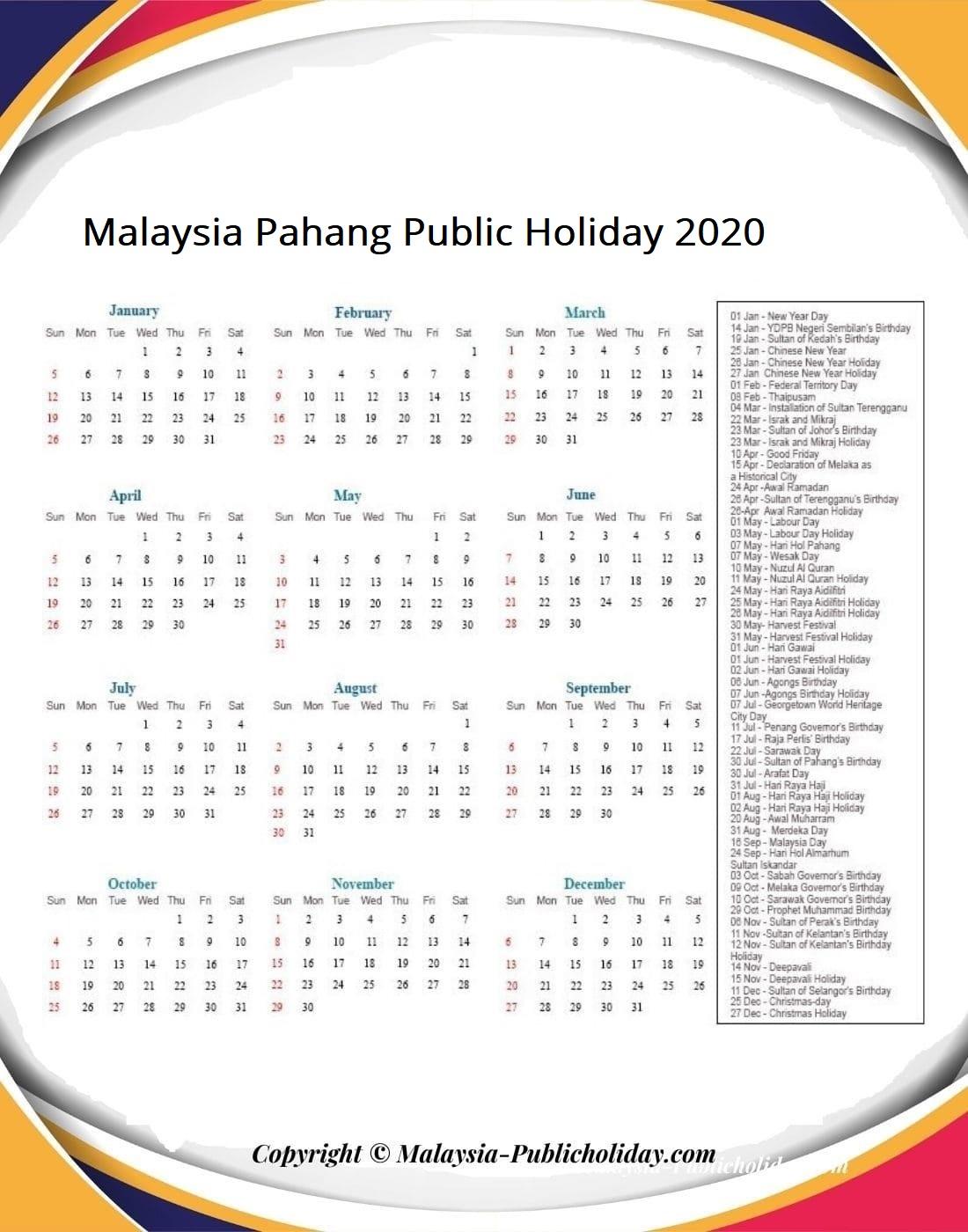 Pahang Calendars 2020 Malaysia
