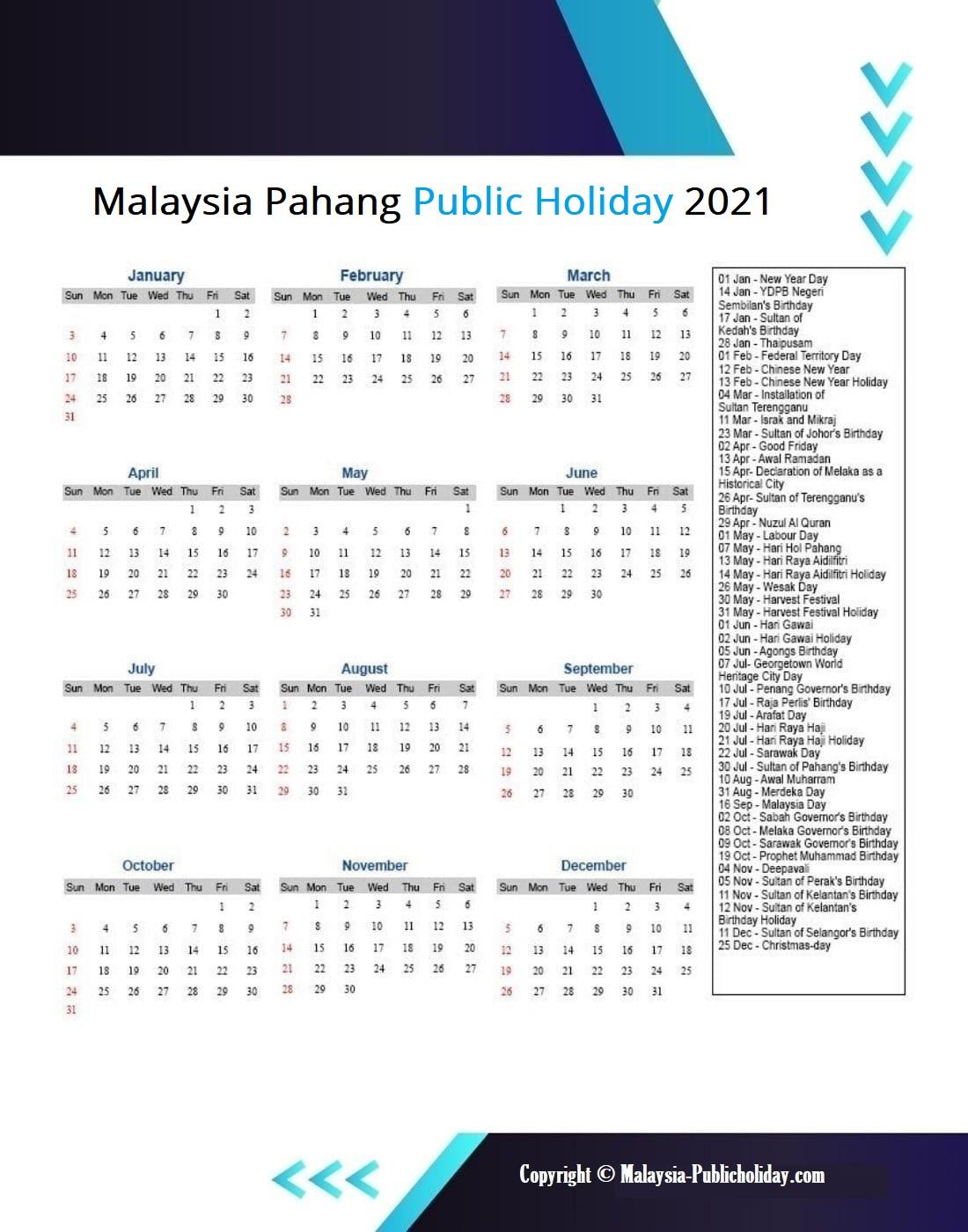 Pahang Calendars 2021 Malaysia