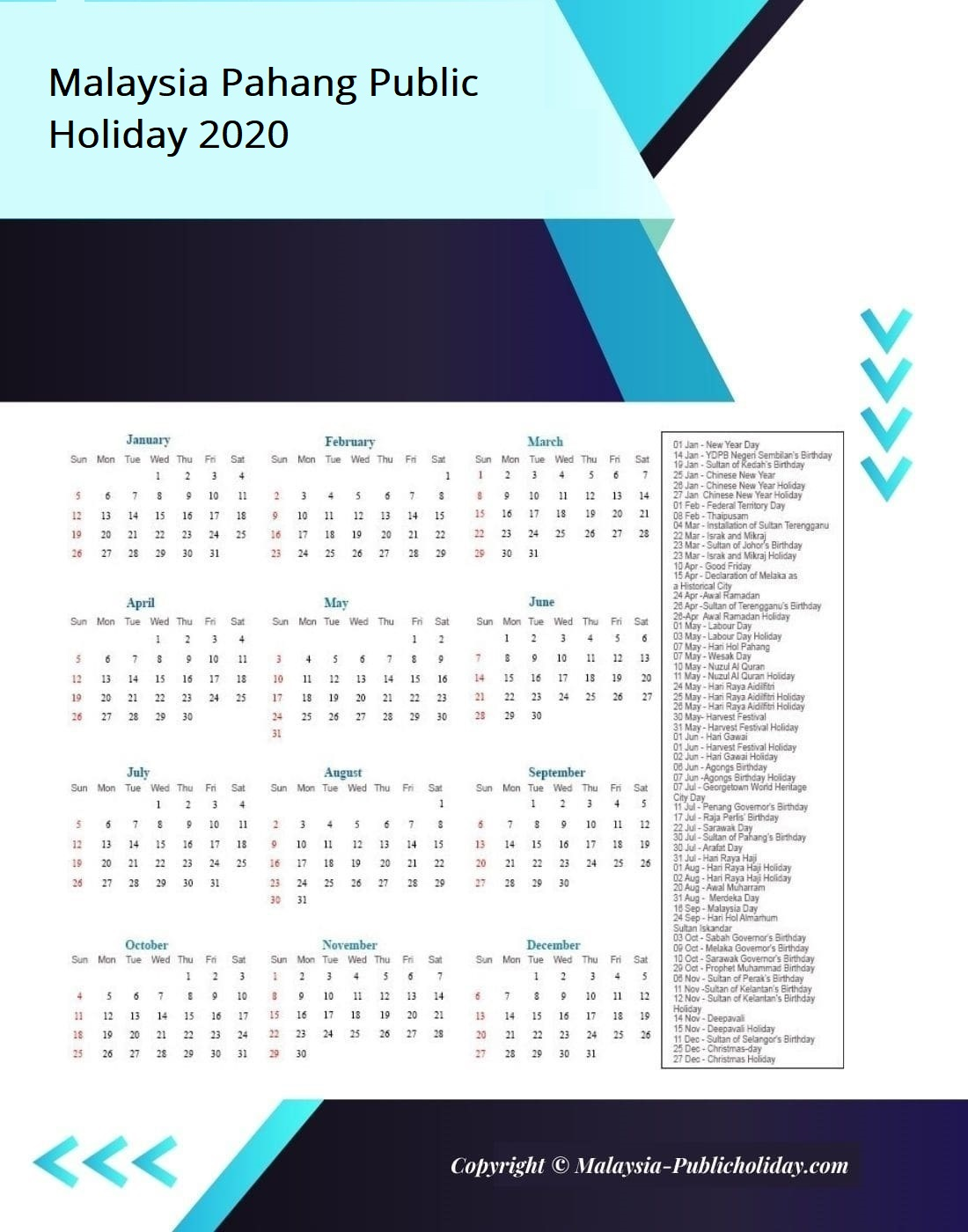 Pahang Calendars with Holidays 2020