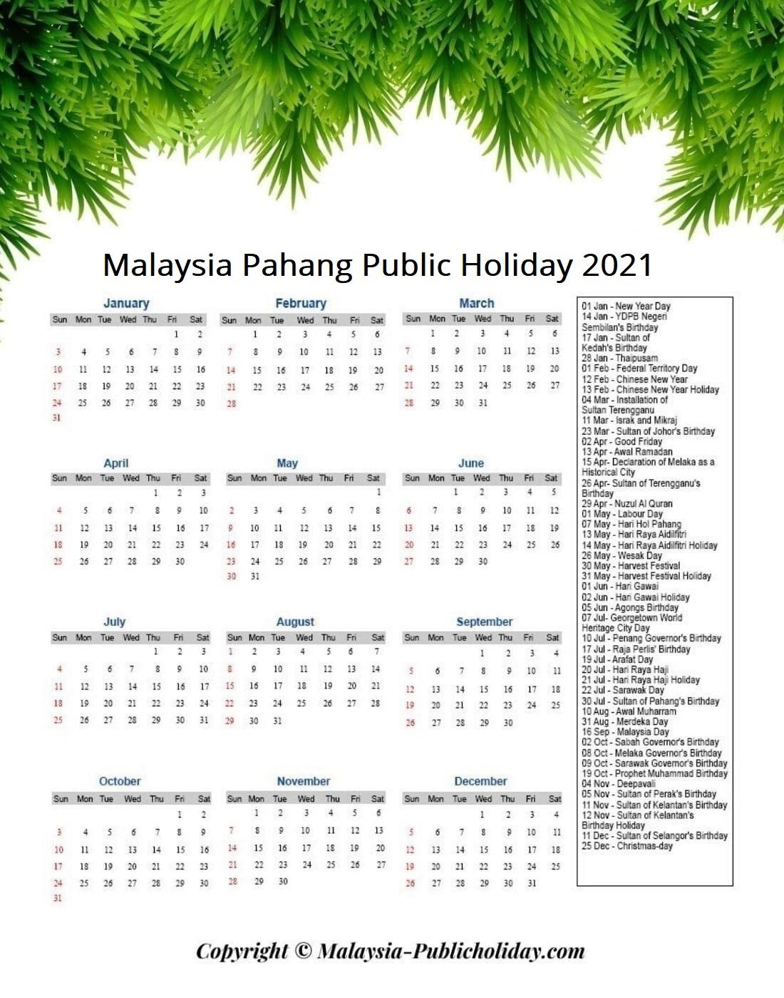 Pahang Holiday 2021 Malaysia