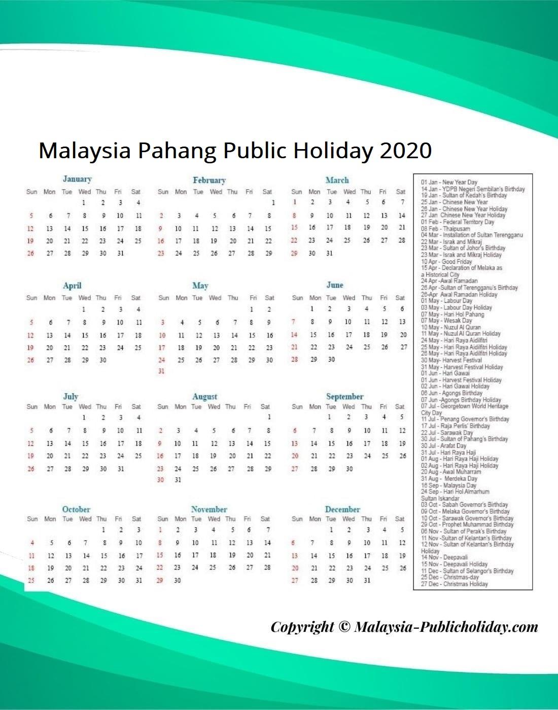 Pahang Public Holiday 2020