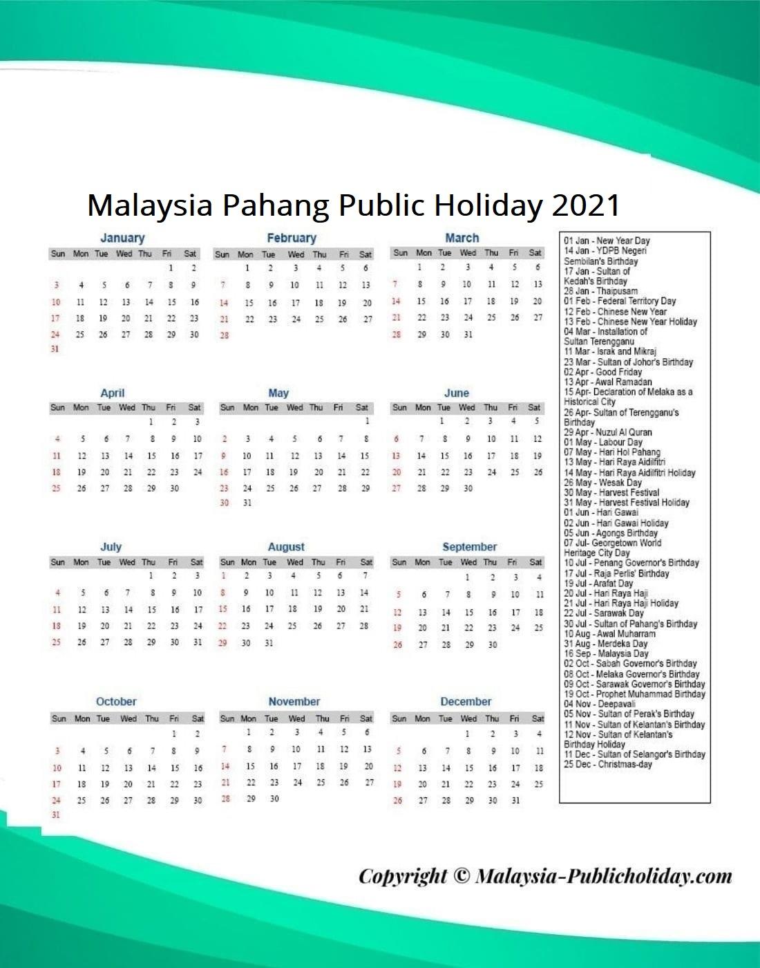 Pahang Public Holiday 2021