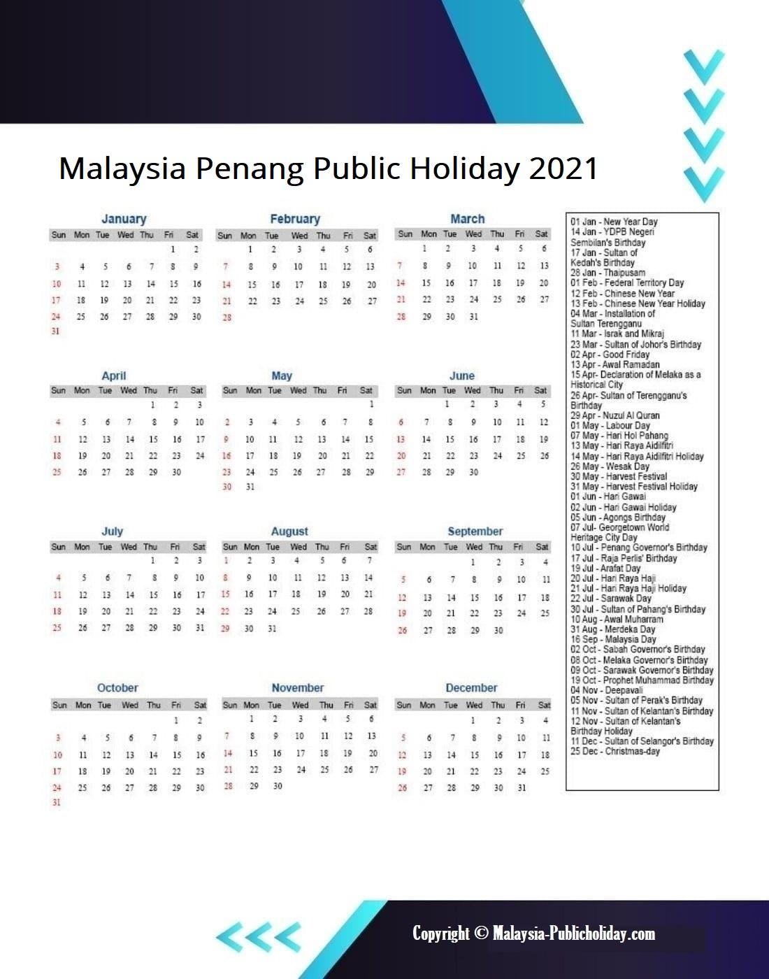 Penang Calendars 2021 Malaysia